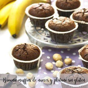 Brownie muffins aux noix et bananes sans gluten au thermomix