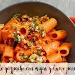 Macaroni au gaspacho avec miettes et œuf pour Thermomix