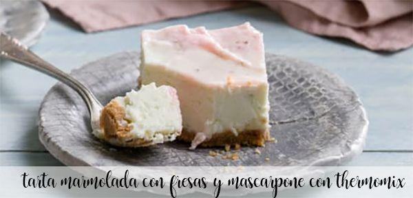 gâteau marbré aux fraises et mascapone au thermomix